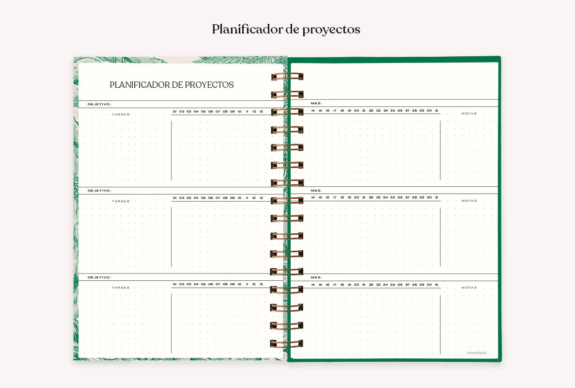 Agenda anillada abierta al medio modelo Makers, donde se puede apreciar el planificador de proyectos y las páginas punteadas.