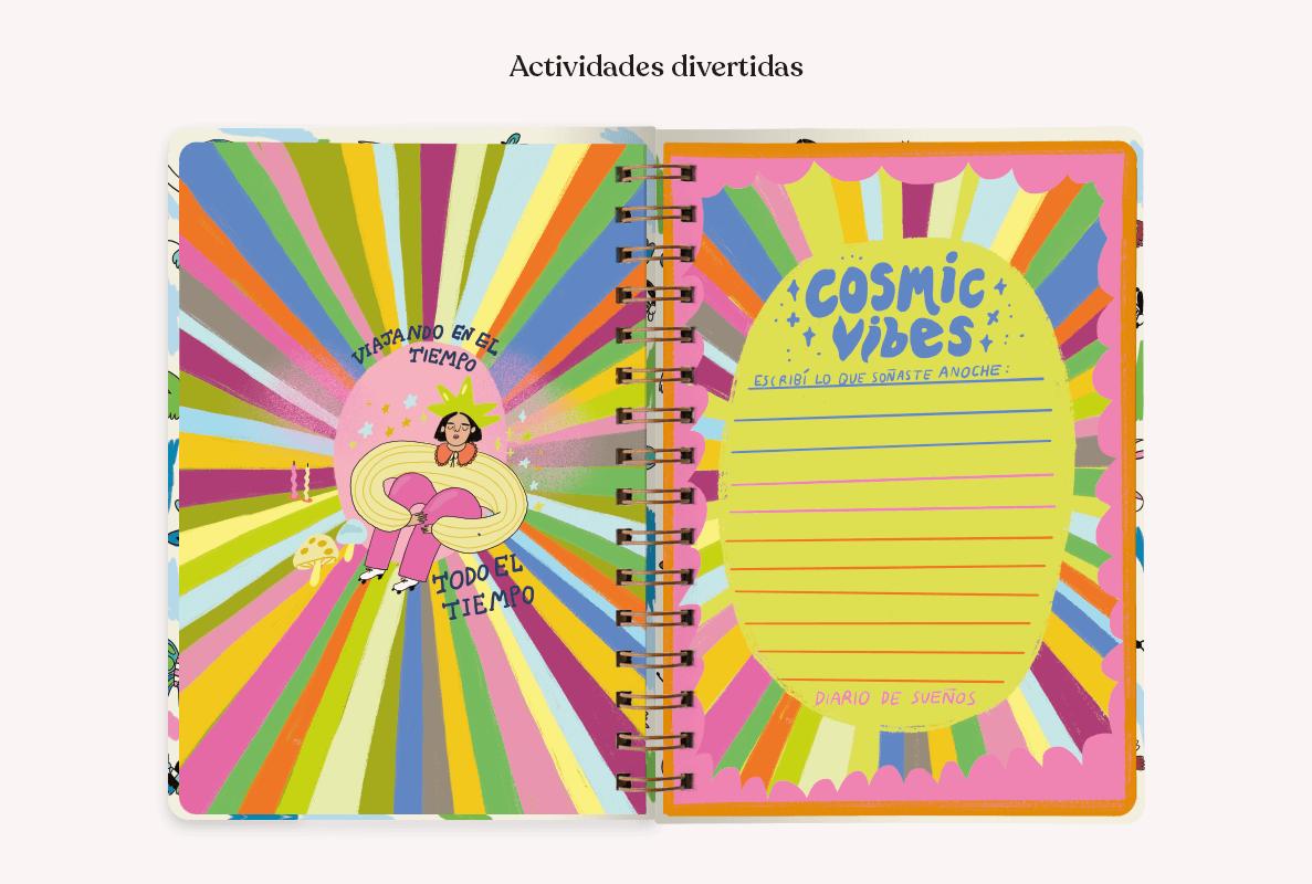 Una agenda abierta con una página libre que dice Cosmic Vibes, escribí lo que soñaste anoche. La otra página con un cómic de una mujer con fondo arcoiris, que dice Viajando en el tiempo todo el tiempo.