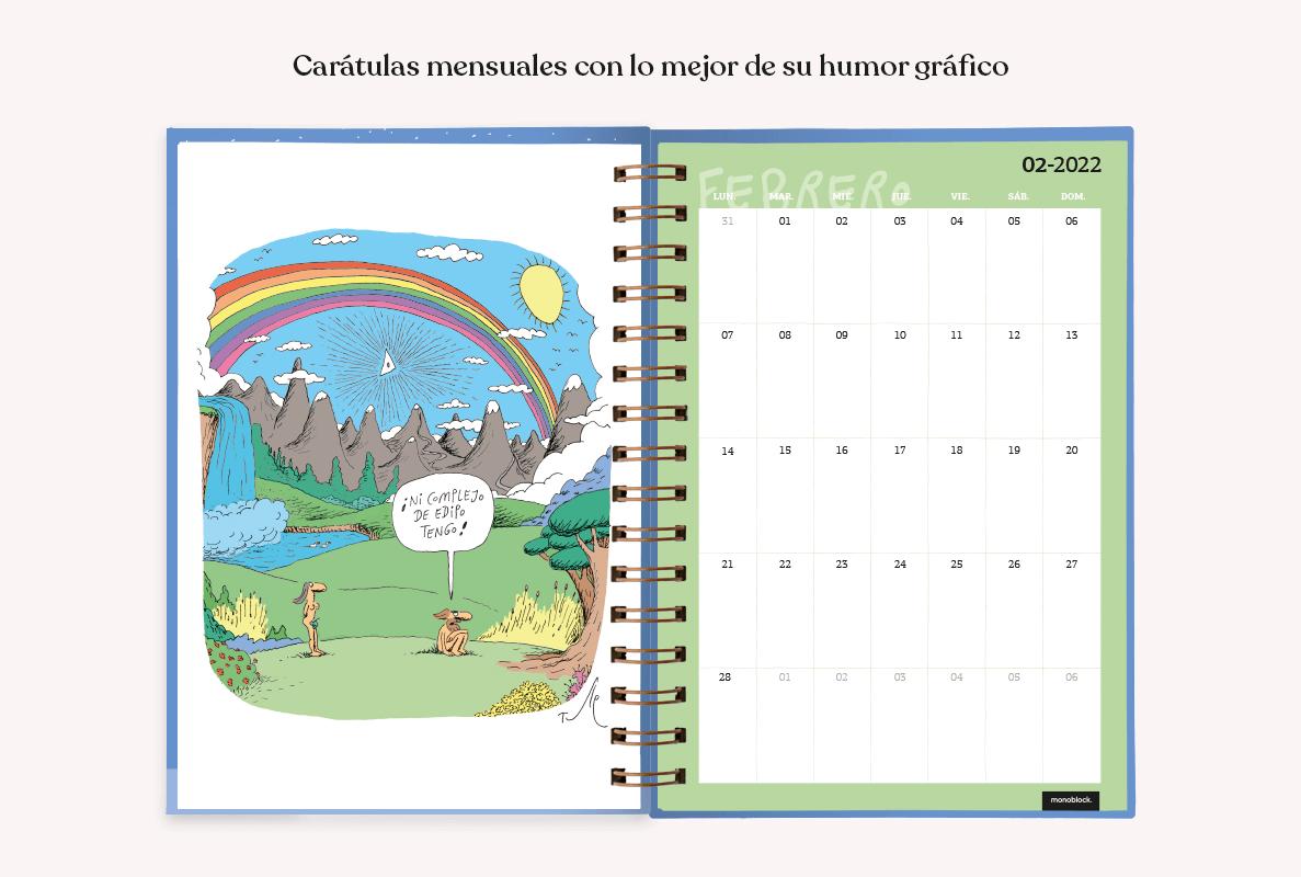 Una agenda 2022 abierta en el mes de febrero. Se ve un planificador mensual y un cómic a página completa, ilustrado por Tute.