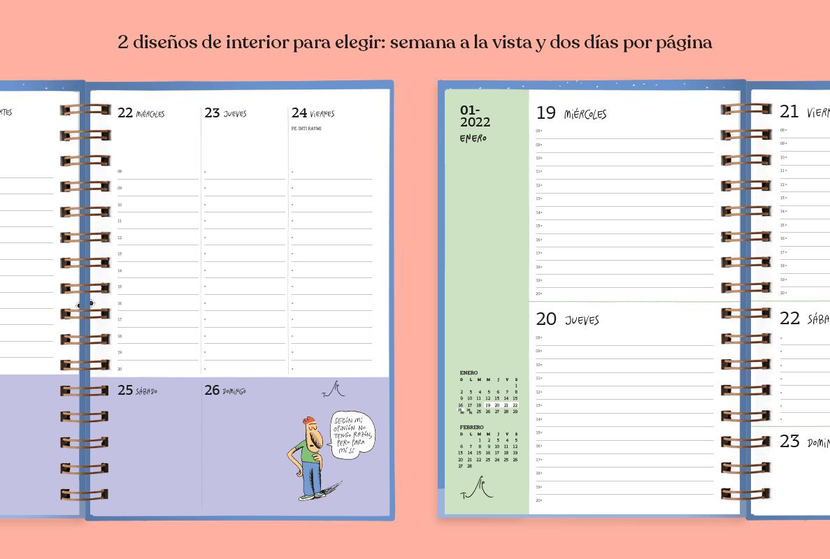 Dos agendas abiertas, en una se ve un interior tipo planificador semanal y en otra, un interior con dos días por página