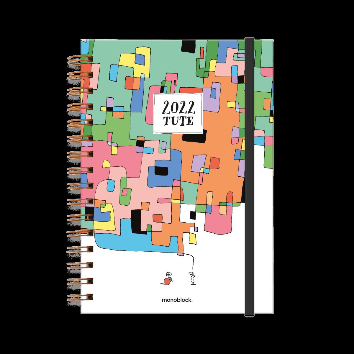 Tapa de agenda 2022 ilustrada por tute, en donde se ve una pareja. El globo de diálogo de la mujer son muchos cuadraditos de colores.