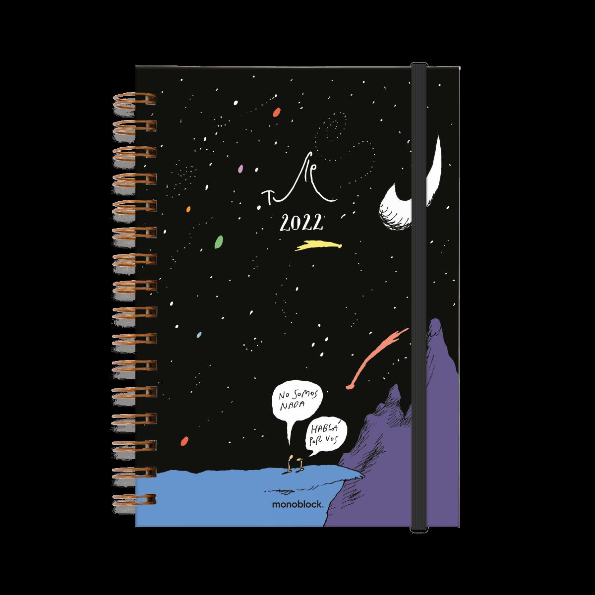 """Agenda 2022 ilustrada por Tute. En la tapa se ven dos personas mirando un cielo estrellado. Una dice """"No somos nada"""" y la otra contesta """"hablá por vos"""""""