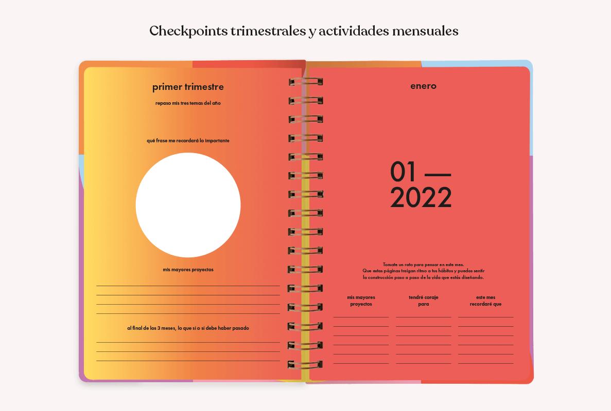 Interior de la agenda Vuelta al Sol 2022, en colores degradé naranjas y amarillos, con actividades para completar en letras negras, con espacio para escribir en una página y consignas sobre el mes que comienza en otra.